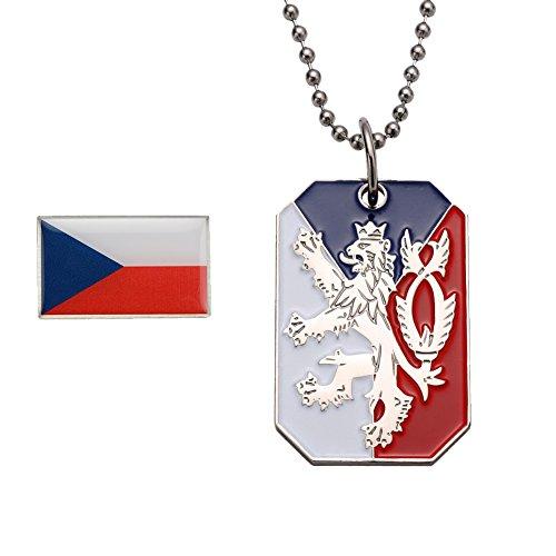 GuDeKe Tschechien Anhänger Fahne Flagge Brosche Damen Herren Abzeichen Halskette Set
