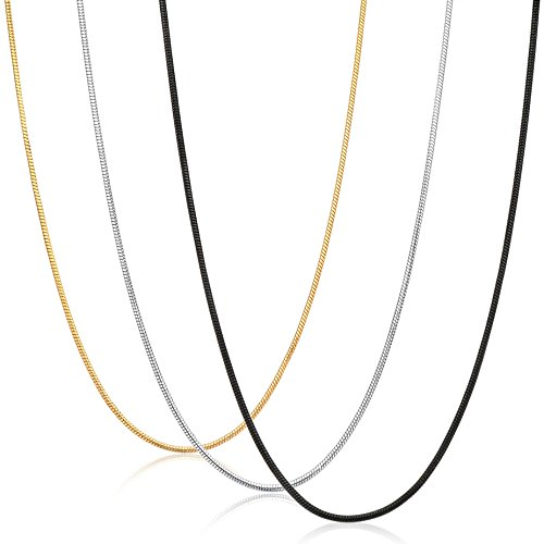 sailimue 0.9MM Gioielli in Acciaio Inossidabile 3 Pezzi Collana Uomo Donna Catena Serpente Argento Nero Dorato Collegamento Lunghe 46CM
