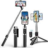 Palo selfie, trípode para selfie con Bluetooth, giratorio 3 en 1, 360...