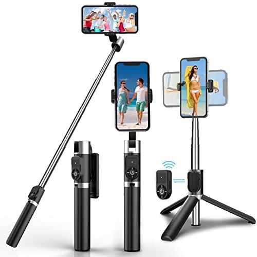 Bastone Selfie, selfie stick, treppiede Bluetooth per selfie stick, 3 in 1, girevole a 360°, espandibile, in alluminio, compatibile con iPhone 12 Pro Max, Samsung S20 Plus, Huawei ecc