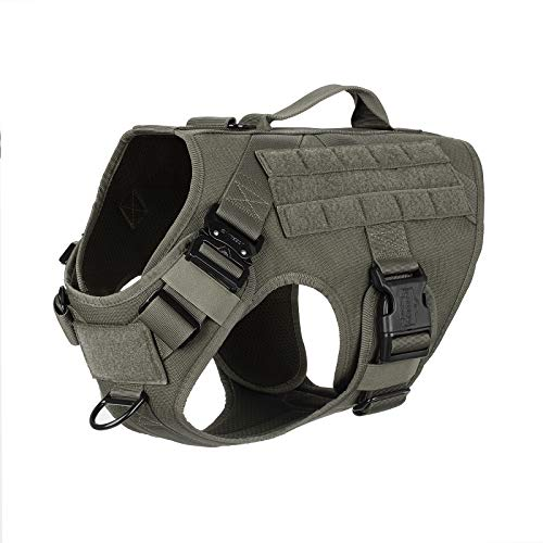 """ICEFANG Tactical Dog Harness with Vertical Handle,2X Metal Buckle,Working Dog Molle Vest,Non Pulling Front Leash Clip,Hook and Loop for Dog Patch (L (Chest 28""""-35""""), Ranger Green)"""