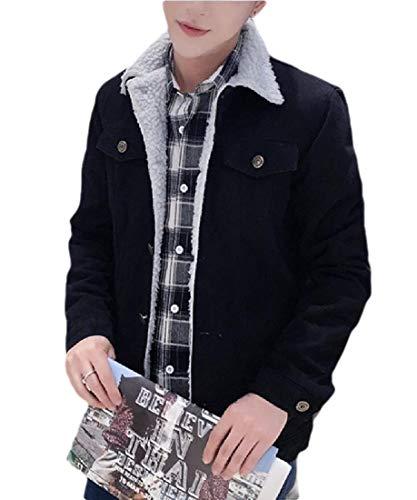 H.Wang Men's Lapel Sherpa Fleece Lined Thicken Outwear Denim Jean Trucker Jacket Coat Black M