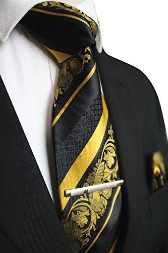 JEMYGINS Gelb Krawatte Blumen Seidenkrawatten und Einstecktuch mit krawattenklammer Sets für Herren Seide Schlip (3)