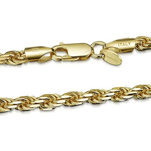 Amberta Collana Placcata Oro Giallo 18K su Argento Sterling 925 per Uomo - Maglia Corda - Spessore 4 mm - Lunghezza 70 cm