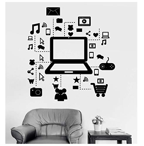 FDFDFD Wandtattoo Spiel Laptop Internet Informationen Einkaufsspiel Vinyl Aufkleber Spielhalle Zuhause Wohnzimmer Schlafzimmer Dekoration 57x61cm