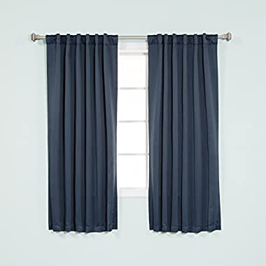 Best Home Fashion Thermal Insulated Blackout Curtains - Back Tab/ Rod Pocket - Navy - 52 W x 63 L - (Set of 2 Panels)