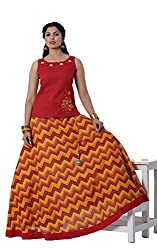 Maybell Yellow & Red Cotton Top with Embroidery Printed Circular Skirt Set