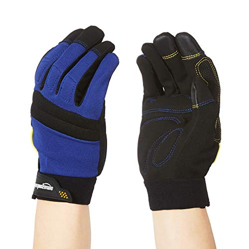 Amazon Basics Enhanced Flex Grip Work Gloves - Blue, L