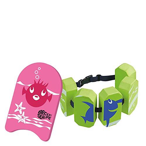Beco Sealife Schwimmbrett mit Schwimmgürtel pink/grün Wassersport Kinder Aqua