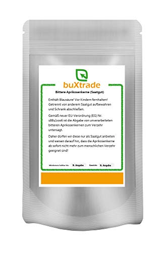 Bittere Aprikosenkerne (Saatgut) - naturbelassen - unbehandelt - Kerne - B17 - VERSCHIEDENE GRÖßEN (250 g)