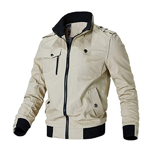 Casual Jacket Men Spring Autumn Army Military Jackets Mens Coats Outerwear Windbreaker,Khaki,M