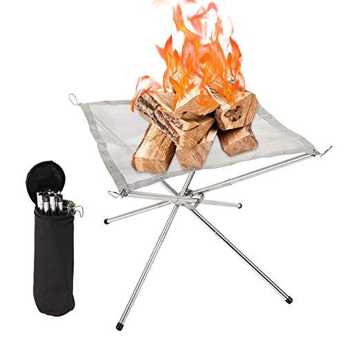 焚火台 たきび台 焚き火台 折りたたみ式 3分割型 メッシュシート 組立簡単 軽量 ファイヤースターター 薪を燃やす 携帯便利 収納ケース付き コンパクト 使いやすい アウトドア キャンプ用