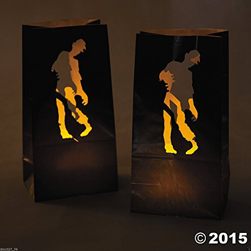 12 HALLOWEEN Party Decoration Paper Undead ZOMBIE Walking Dead LUMINARY BAGS