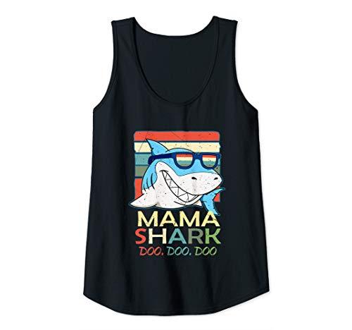 Womens Funny Mama Shark White Shark Mom Sunglasses Predatory Fish Tank Top