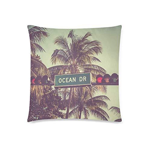 BEDKKJY Vintage Ocean Drive Sign met palmbomen in Miami Beach Florida Decor kussensloop kussensloop met 18x18 Inch, Kussensloop met ritssluiting voor slaapbank