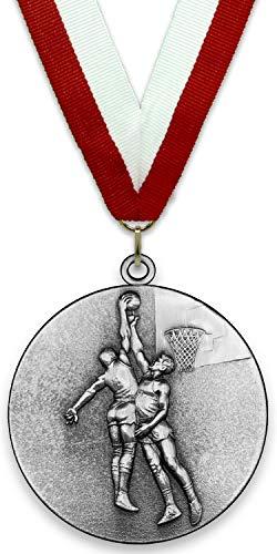 Medalla de Metal Personalizable - Baloncesto Masculino - Color Plata - 6,4cm - Cinta Incluida - Colores de Cinta - Rojo-Blanco
