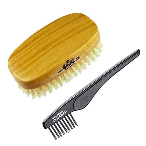 Kent Finest Men's MS23D Military Style Satinwood/Beechwood Dual Timber Hair Brush + Kent LPC2 Hair Brush Cleaner - Best Hair Care Kit for Men, 360 Wave Brush, Encourages Hair Growth (MS23D+LPC2)