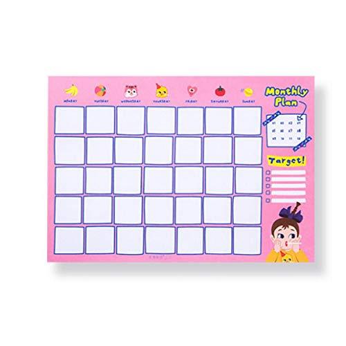 MICHAELA BLAKE Monthly Schedule Aufkleber Cartoon-Aufkleber Einplanungskalenders Planer Buchliste Nachricht Aufgaben Hinweis Rosa 1pc
