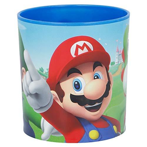 Tazza Bicchiere in plastica per Microonde con manico Bambini colazione (Supermario)