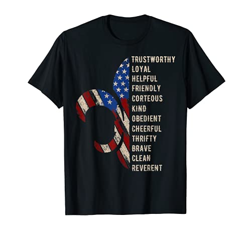 American Flag Trustworthy Helpful Friendly Courteous Scout T-Shirt