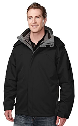 Tri-mountain Poly bonded soft shell 3-in-1 jacket. - BLACK - XXXX-Large