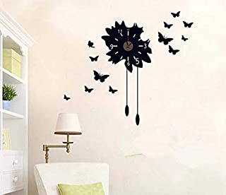 Black Butterfly Wall Stickers Clock Creative Clock Decals Removable Home Decoration