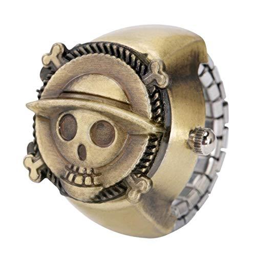 ZMKW Reloj de Bronce Kuroshitsuji con Anillo, Anillo analógico elástico Ajustable, Reloj Circular, Accesorio de joyería con Dedo abatible, Calavera de una Pieza, de tamaño Variable