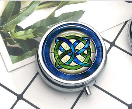 Compact 3 Compartment Medicine Case, Pill Box for Pocket or PursePill Box Decorative Pill Case with Gift Box Green and Blues Celtic Knot Hanger Irish