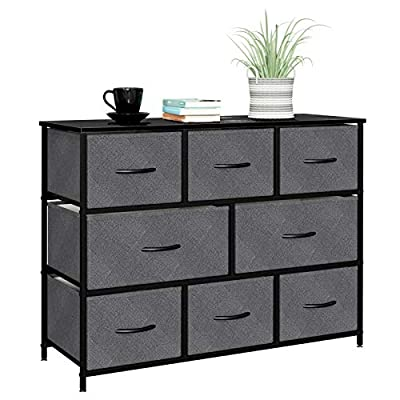 8 Drawers Dresser Fabric Storage Organizer for Bedroom, Hallway, Entryway, Closets with Black Solid Wood Handle,Black
