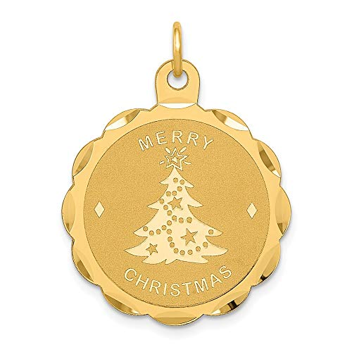 14k Yellow Gold Merry Christmas Disc Pendant Charm Necklace Holiday Fine Jewelry For Women Gifts For Her