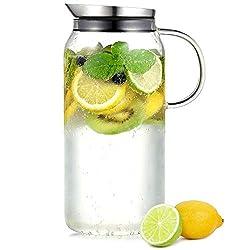 ecooe glaskrug 1 0 liter glaskaraffe wasserkrug mit edelstahl deckel wasser. Black Bedroom Furniture Sets. Home Design Ideas