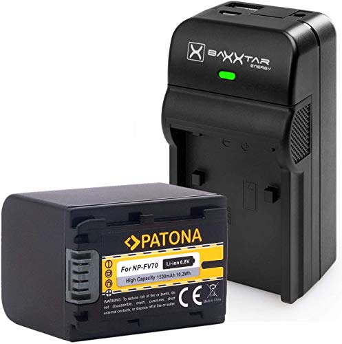 Baxxtar Razer 600 II Ladegerät 5in1 mit PATONA Akku - Ersatz für Akku Sony NP-FV70 - USB-Ausgang zum Laden Eines Drittgerätes (Smartphone usw.)
