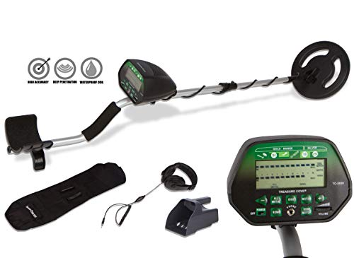 Treasure Cove TC-3020 Fortune Finder Digital Platinum Gold Metal Detector Set for Adults with High Accuracy Waterproof Coil, Standard, Black/Silver