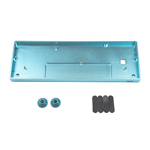 GH60 CNC-Gehäuse aus eloxiertem Aluminium für 60 % mechanische Gaming-Tastatur, kompatibel mit Poker2 Pok3r Faceu 60 mit Aluminiumfüßen (Cyan)
