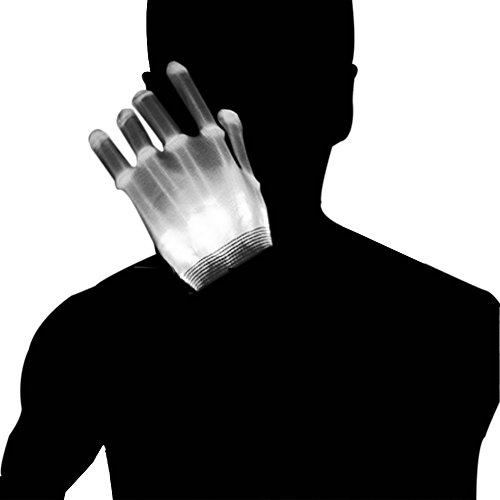 Dsaren LED Handschuhe Blinkt Bunte Handschuhe für Halloween, Weihnacht, Raves Party und Clubs, Spaßgeschenk (Weiß)