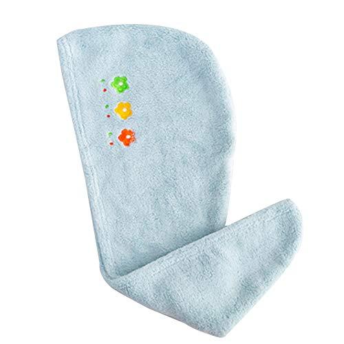 WFF sombrero Sombrero de pelo seco de toalla de pelo de 2 paquetes, turbante de toalla de pelo de microfibra, toalla de secado del cabello súper absorbente con botón para varios peinados punto sombrer