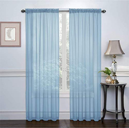 GoodGram 2 Pack: Basic Rod Pocket Sheer Voile Window Curtain Panels - Assorted Colors (Baby Blue, 84 in. Long)