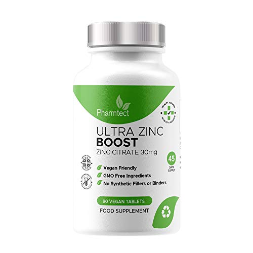 Ultra Zinc Boost Tablets 30mg - High Strength Pure Zinc Supplement for Maintenance of Normal Immune System, Bones, Hair, Skin & Nails - Vegan Tablets Made in The UK by Pharmtect