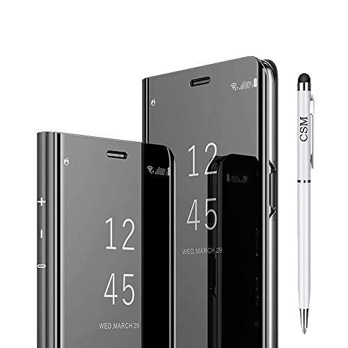 C-Super Mall Funda para Samsung Galaxy S7 Edge, Vista translúcida Espejo Flip Electroplate Stand Smart Cover, Piel sintética policarbonato, Negro, Samsung Galaxy S7 Edge