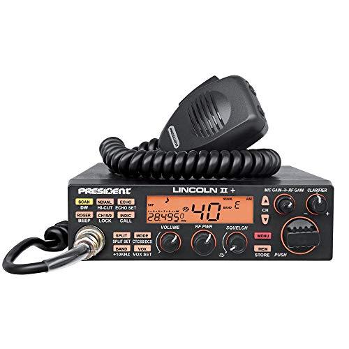 President Electronics Lincoln II ASC - Radio CB (VFO, CW, SSB, 28-29 MHz), Negro