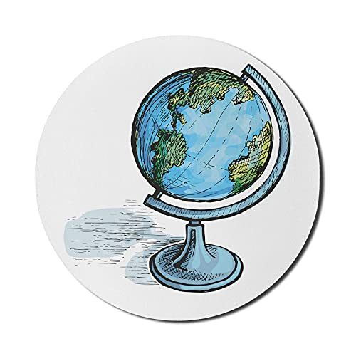 Globe Mouse Pad for Computers, Hand Drawn Like Illustration of Earth Sphere and Shade on Plain Stand Art, Round Non-Slip Thick Rubber Modern Gaming Mousepad, 8' Round, White and Multicolor