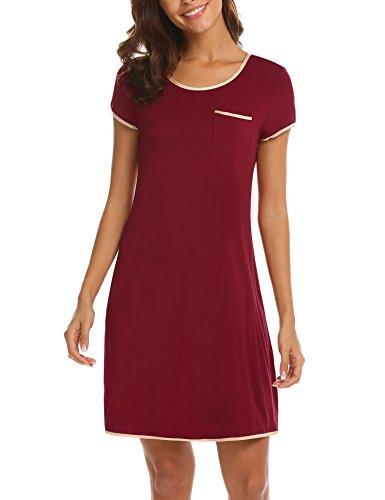 MAXMODA Damen Nachthemd Sleepshirt Pyjama Kurzarm Nachtkleid Schlafanzüge Nachtwäsche Mit Wein Rot XXL