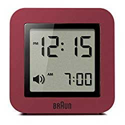 Braun Digital Travel Alarm Clock with Snooze, Compact Size, Positive LCD Display, Quick Set, Beep Alarm in Red, Model BNC018R.
