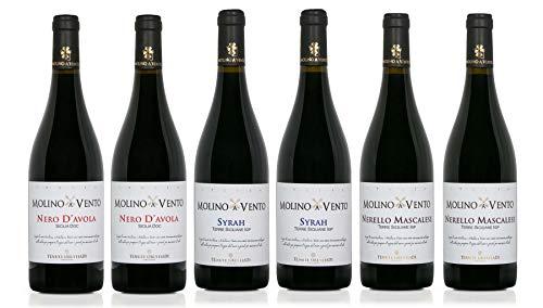 Confezione 6 bottiglie | 3 tipologie di Vino Rosso Sicilia IGP: SYRAH | NERO D'AVOLA | NERELLO MASCALESE - Cantina Tenute Orestiadi | Collezione Molino a Vento