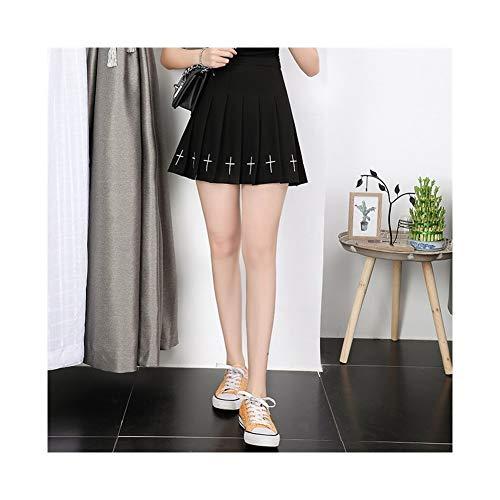 Falda plisada, falda negra bordada en la cintura Diablo, una falda de cintura elástica para mujer de primavera y otoño (color : negro, tamaño: L)