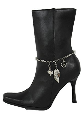 TFJ Women Fashion Jewelry Boot Bracelet Silver Metal Chain Shoe Leaf Love Heart Peace Sign Charms