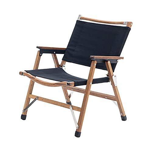 Silla plegable para acampar al aire libre madera maciza reclinable para ocio...