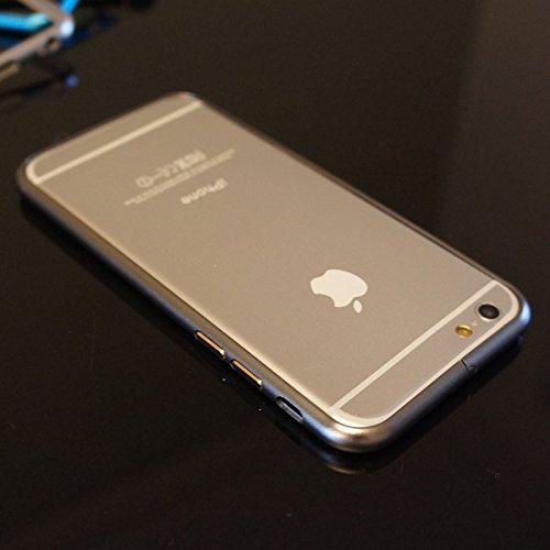 MobileCaseAce Slim Real Aluminio Metal Bumper Frame Case para el iPhone 44S 55S 66Plus + Libre Protector de Pantalla (iPhone 6, Gris)