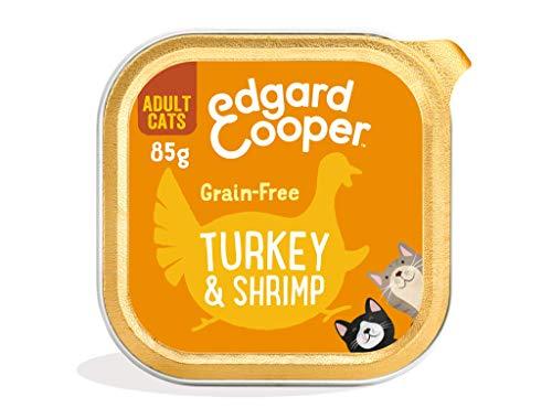 Edgard & Cooper Truthahn & Garnelen - Nassfutter für Katzen - Langsam gekocht - Präbiotika für gesunde Verdauung - Getreidefrei - frisches Fleisch - 85 g Becher (19 Stück)