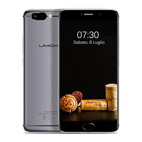 "UMIDIGI Cellulari Dual Sim 10-Core 4GB Ram, 32GB Rom 2.6 GHz Super Veloce 5.5"" 1920*1080, Fotocamera 13.0MP 3780mAh, Impronte Digitale, Android 6.0, Italiano ( Z,Grigio )"
